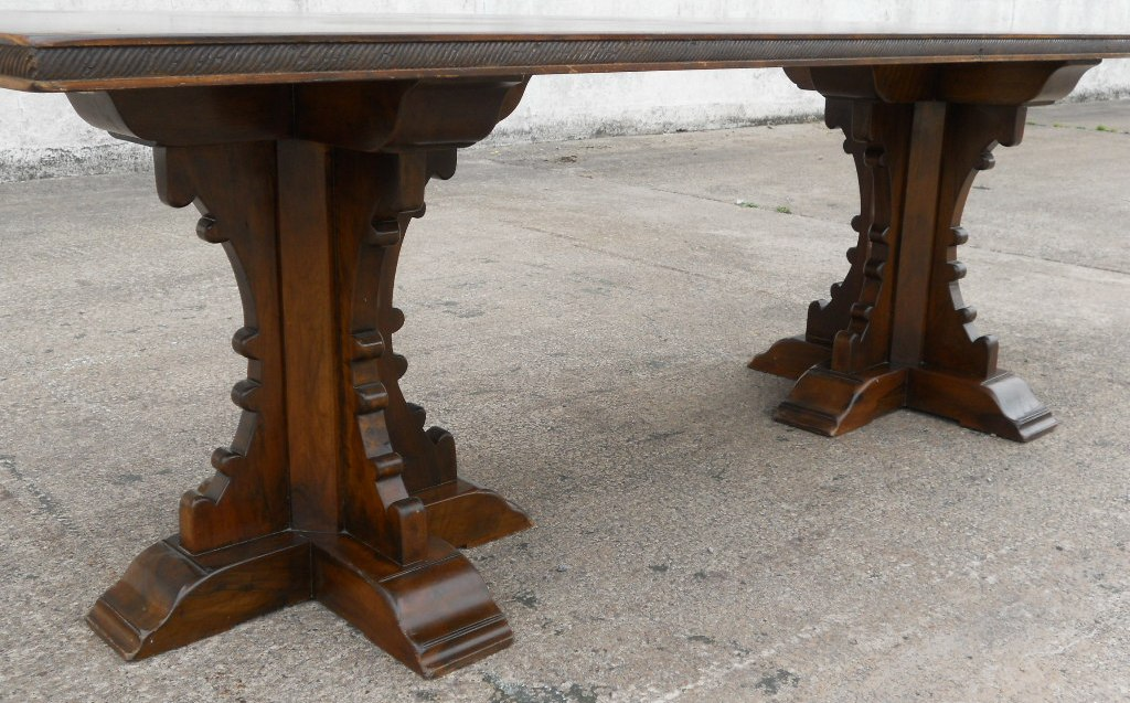 Antique Tudor Style Large Oak Amp Walnut Refectory Dining Table